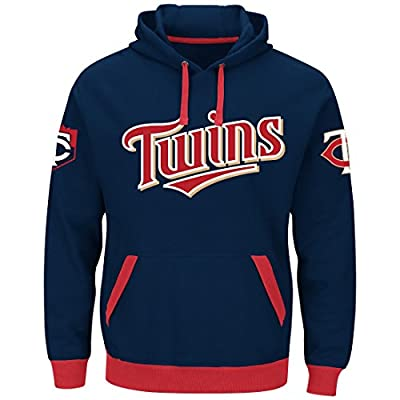 Majestic Minnesota Twins Mens Navy Third Wind Embroidered Pullover Hoodie Sweatshirt