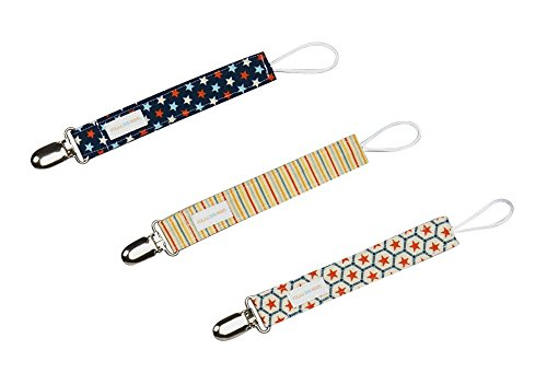 Boys Pacifier Clip Set of 3 in Stars & Stripes
