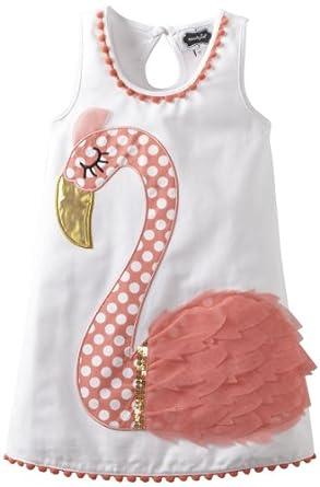 Mud Pie Little Girls' Flamingo Cotton Dress, Multi, 5T