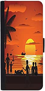 Snoogg Beach Graphic Snap On Hard Back Leather + Pc Flip Cover Lg G3