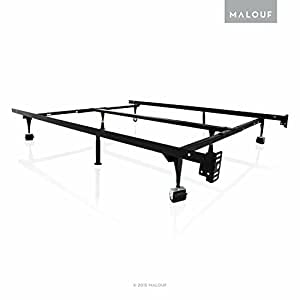 STRUCTURES Heavy Duty 8-Leg Adjustable Metal Bed Frame with Rug Rollers - Universal Size (Cal King - Twin)