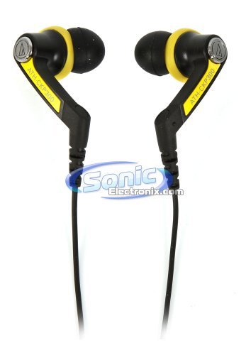 Audio Technica Ath-Ckp300 Players Line In-Ear Headphones Active Sports Earbuds Stereo Earphones (Yellow And Black)