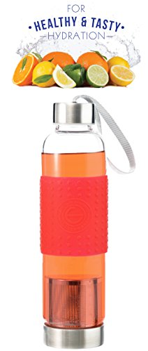 GROSCHE Marino 550ml/18.6oz Water and Tea Infuser and Cold Brew Coffee Maker- Glass and Stainless Steel Sport Water Bottle with Built-in Tea Infuser RED
