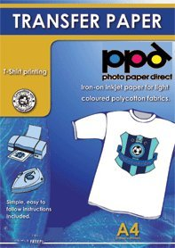 PPD Inkjet Transferpapier zum aufbügeln auf helle T-Shirts, DIN A4, 40 Blatt