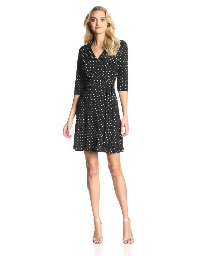 STAR VIXEN WOMEN'S 3/4 SLEEVE FAUX WRAP DRESS WITH COLLAR