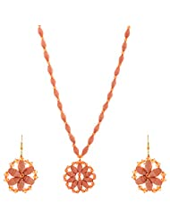Kashish Designz Flower Pendent Necklace Set For Women ( Orange )