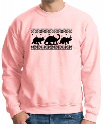 Dinosaur Pattern Faux Ugly Christmas Sweater Crewneck Sweatshirt Xx-Large Light Pink