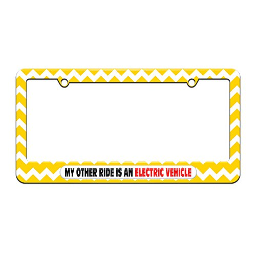 My Other Ride Is An Electric Vehicle - License Plate Tag Frame - Yellow Chevrons Design