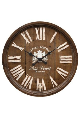 Wine Barrel Replica Wooden Wall Clock - 33 Diam. In.