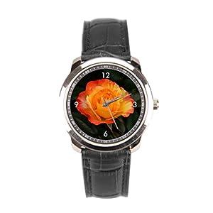 sanYout Wrist Watches Orange Leather Watches Close Shot Men Wrist Watches Jamfoto