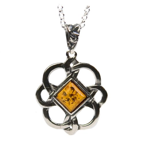 Sterling Silver Honey Amber Celtic Pendant Necklace , 18