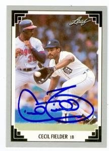 Cecil Fielder Autographed Hand Signed baseball card Detroit Tigers    Cecil Fielder Baseball Card