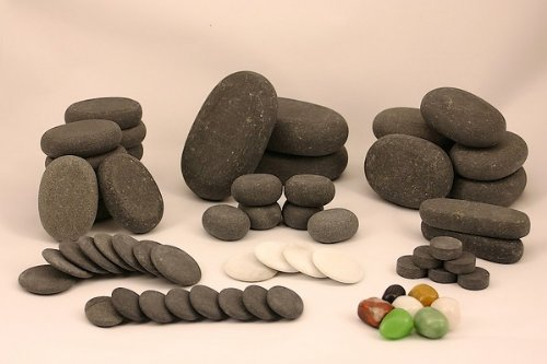 Set of 60 Basalt  &  Marble Hot  &  Cold Massage Stones