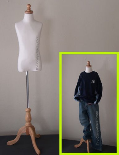 Kids 9-10 Years Child Jersey Mannequin Dress Form - Boy or Girl - White with Natural Tripod Base