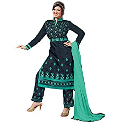 Manthan Chanderi Navy Blue Embroidered Women's Chudidar Suit MNTKFMFDRMG36101