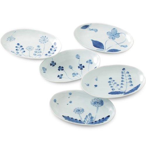 有田焼 優雅でモダンな絵付 はなの詩 楕円皿セット ama-407690