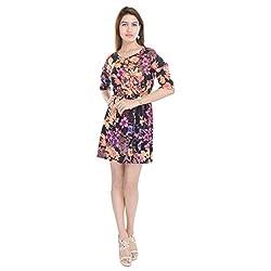 Beautiful Viscose Flower Print Multi Colour Dress