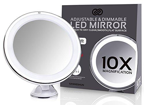 Sanheshun-10-fach-Vergrerung-LED-Reise-Make-Up-Spiegel-Kosmetikspiegel-Rund