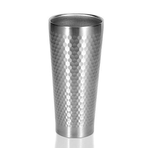 Homestia Hammered Mug Argenté à Bière Bock en Acier Inoxydable 430ml, Lot de 4