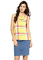 Raindrops Women's Shirt(1182C002HS-Yellow-S)