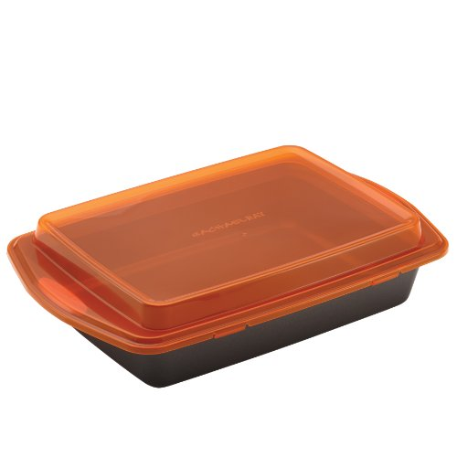 Rachael Ray Nonstick Bakeware 9-Inch by 13-Inch Covered Cake Pan, Gray with Orange Lid and Handles (Rachel Ray Cookware Gray compare prices)