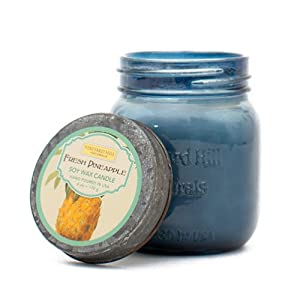 Vineyard Hill Naturals Vintage Canning Jar Candle, 6-Ounce, Fresh Pineapple