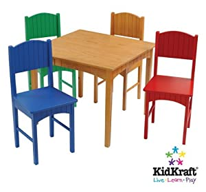 NEW KidKraft Nantucket Kids Table & 4 Colored Chair Set Table & Chairs Furniture