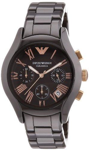 Emporio Armani AR1447 - Reloj cronógrafo de cuarzo para mujer, correa de cerámica color marrón