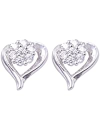 Abhooshan Pair Of Beautiful Flower In Heart Cz Studs In 925 Silver