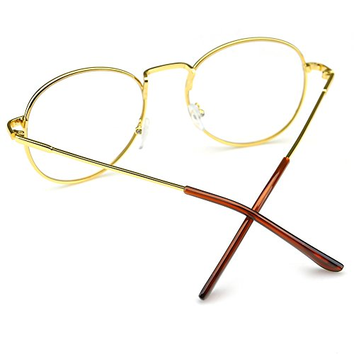 PenSee Oval Classic Retro Metal Frame Clear Lens Round Circle Eye Glasses 3