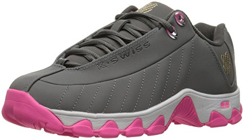 K-Swiss Women's ST329 CMF Rainbow Cross-Trainer Shoe, Charcoal/Neon Pink, 8 M US