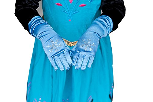 Girls Elsa Princess Snowflake Blue Gloves