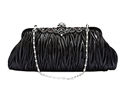 Pulama® - Evening Handbag Classic Satin Detachable Strap Black Clutch