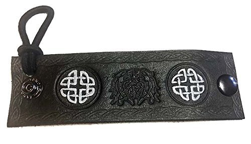 Black Celtic Beast Celtic Knot Leather Hair Wrap with Elastic Hair Tie (Quirky Ties compare prices)