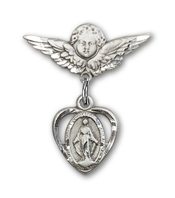 Sterling Silver Baby Badge with Miraculous Charm and Angel w/Wings Badge Pin