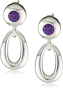 Zina Sterling Silver Contemporary Collection Loop with Amethyst Drop Earrings