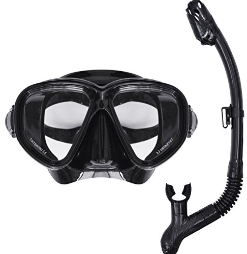 FIELDOOR ダイビングマスク・ドライスノーケル 2点セット ブラック シュノーケル/フリーサイズ/男女兼用、強化ガラス、シリコン採用