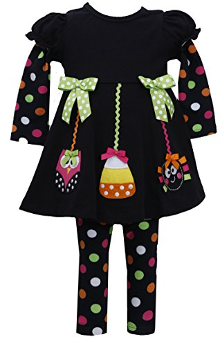 Bonnie Jean Girls Halloween Animal Dress Legging Outfit, Black, 2T - 6X