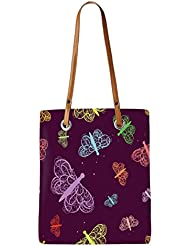 Snoogg Green Flowers Womens Digitally Printed Utility Tote Bag Handbag Made Of Poly Canvas With Leather Handle