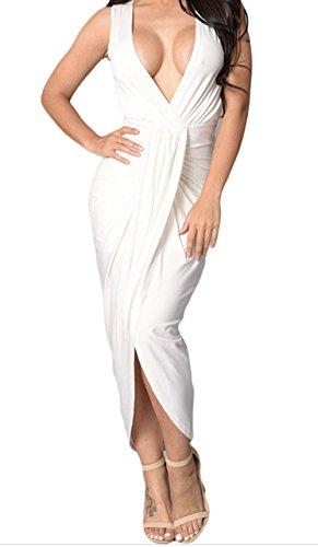 DH-MS Dress White Draped Slit Front Maxi Dress S (Snow White Outfit Ideas)