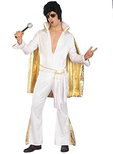 [Enimay Men's King of Rock and Roll Elvis Presley Stage Halloween Costume Adult Size] (White Elvis Costumes)