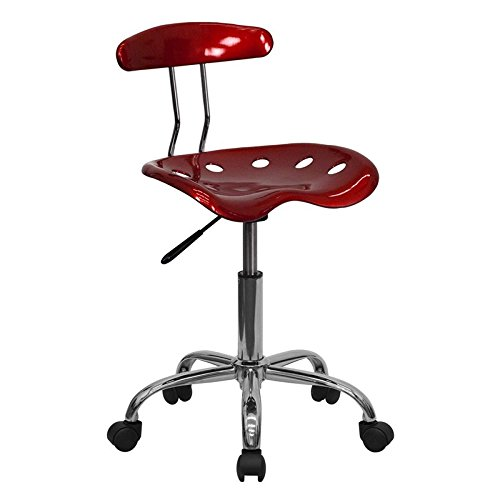 Vibrant Wine Red and Chrome Computer Task Chair with Tractor Seat [LF-214-WINERED-GG] electronic consumers
