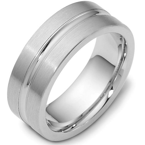 Sterling Silver, Convex Center 8MM Wedding Band (sz 6)