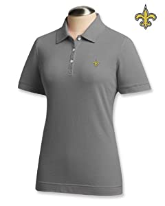 New Orleans Saints Ladies Ladies Ace 100% Cotton Polo Grey Heather by Cutter & Buck