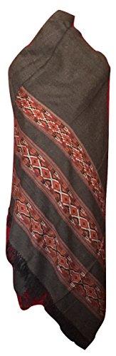 Women's Angora Wool Shawl, Dark Gray with Three Kullu Stripes