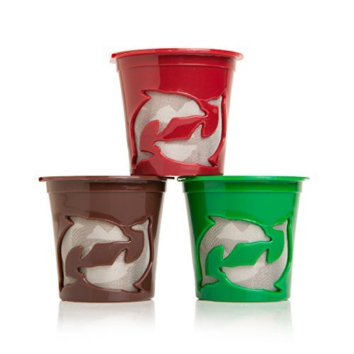 Filip Coffee - Refillable K-Cup Pods for Keurig Machines - 8ml Scoop Included - Set of 3 Pods (Multi-Color) (Reusable K Cup For Mr Coffee Kg5 compare prices)