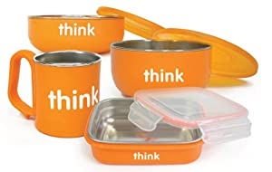 (新低)ThinkBaby Complete BPA Free Feeding Set 儿童餐具组合橙色$32.29