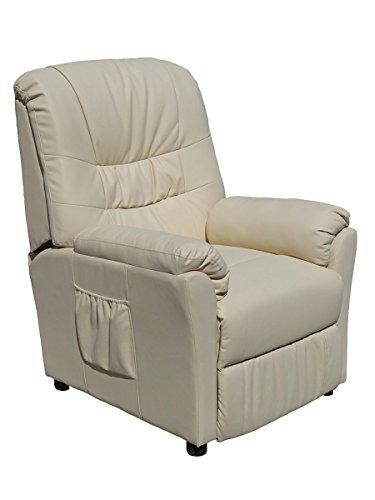 POLTRONA MASSAGGIANTE CAMILLA SP952, bianca ,Poltrona relax ,riscaldata vibrante, ecopelle , poltroncina TV , massaggi -ETAN24