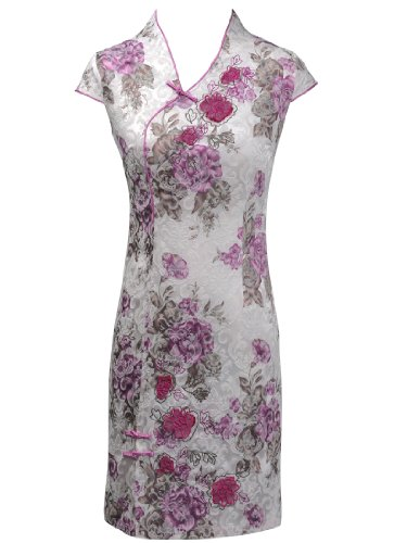 Artwedding V-neck Mini Cotton dress Chinese Dress/Qipao/Cheongsam/Wedding/Party/Evening Dress with Flower Motif and Short Sleeves, Multi Color