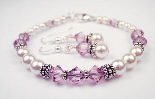 Alexandrite Bracelets and Earring SETS: Swarovski Crystal Beaded Pearl Bracelets in Sterling Silver